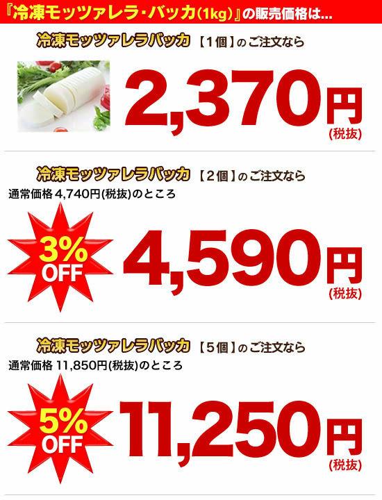 『『冷凍モッツァレラ・バッカ(1kg)』の販売価格は…