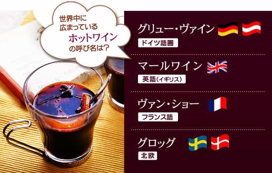 「グリュー・ワイン」はドイツ語、オーストラリア語「マールワイン」は英語(イギリス)「ヴァン・ショー」はフランス語「グロッグ」は北欧