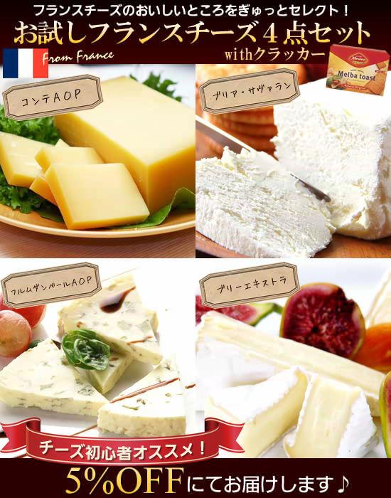 お試しフランスチーズ4点セットwithクラッカー