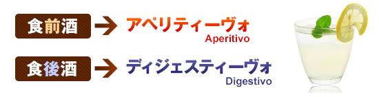 ●食前酒=アペリティーヴォ ●食後酒=ディジェスティーヴォ