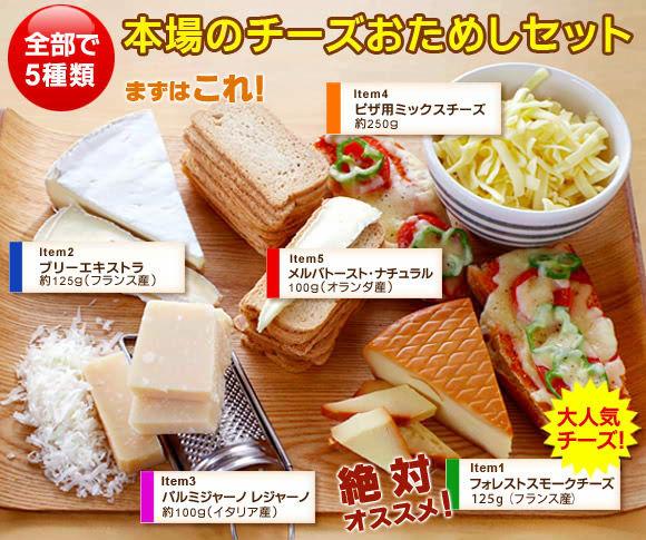 全部で5種類!本場のチーズおためしセット