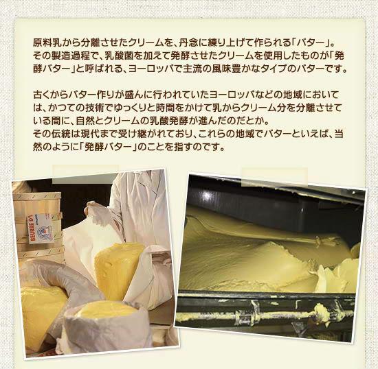 原料乳から分離させたクリームを、丹念に練り上げて作られるのが「バター」という食品です。その製造過程で、乳酸菌を加えて発酵させたクリームを使用したものが「発酵バター」と呼ばれるタイプで、ヨーロッパでは主流の風味豊かなバターです。