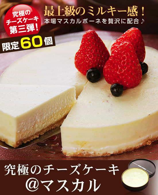 本場のマスカルポーネを贅沢に配合!素材の良さを最大限に引き出した逸品 限定200個 究極のチーズケーキ『@マスカル』