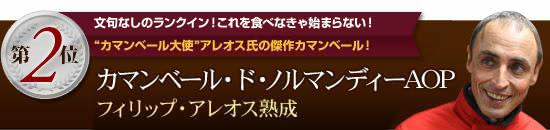 """【第2位!】文句なしのランクイン!これを食べなきゃ始まらない!""""カマンベール大使""""アレオス氏の傑作カマンベール!"""