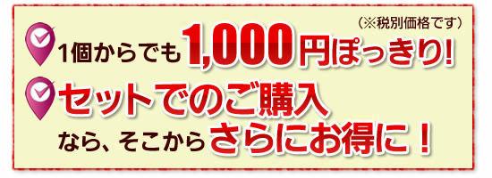 """●1個からでも""""1,000円ぽっきり""""!(※税別価格です)"""