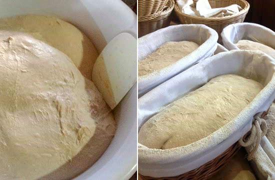 イーストを添加せず、小麦粉と水を混ぜたものを自然発酵させる。