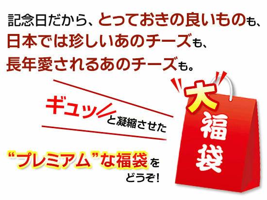 """■記念日だから、とっておきの良いものも、日本では珍しいあのチーズも、長年愛されるあのチーズも。ギュッと凝縮させた""""プレミアム""""な福袋をどうぞ!"""