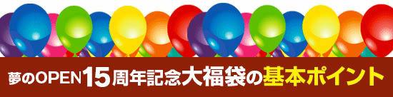 ●『夢のOPEN15周年記念大福袋』の基本ポイントは?