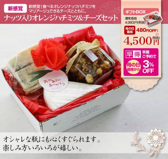 【母の日ギフト】ナッツ入りオレンジハチミツ&チーズセット